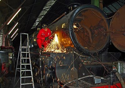 Maintenance work being carried out on Ivatt 46512 in Aviemore loco shed 60B