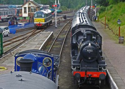 Caledonian 828 and Ivatt 46512 at Boat of Garten station
